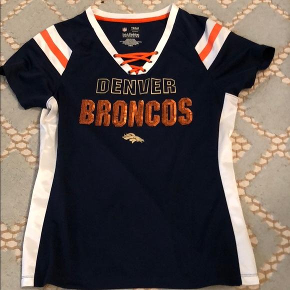 NFL Tops   Denver Broncos Women Sequin Shirt Size M   Poshmark